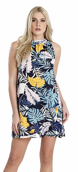 TROPICAL LEAVES HALTER NECK