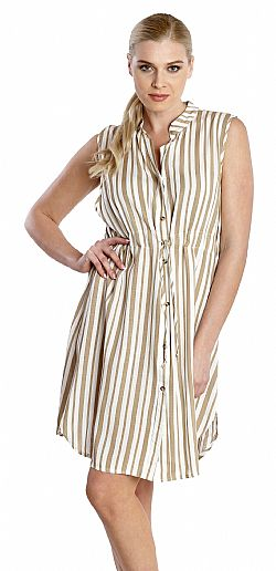 SHORT STRIPED SHIRT DRESS
